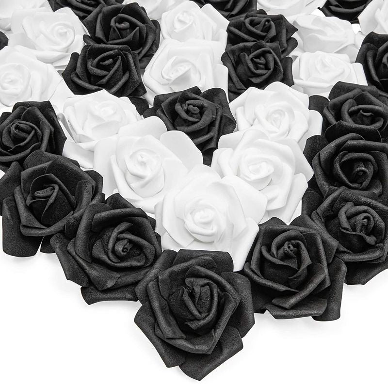 Bright Creations Artificial Rose Flower Heads (Black and White, 100 Pack)