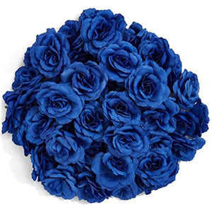Bright Creations Artificial Silk Rose Flower Heads for Decorations (Dark Blue, 50 Pack)