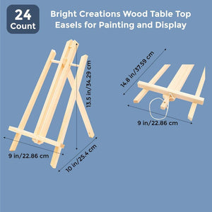 Bright Creations Wood Table Top Easels for Painting and Display (24 Count) 13.5 Inches