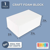 "17"" x 11"" Large Styrofoam Block for DIY Crafts and Floral Arrangements, White"