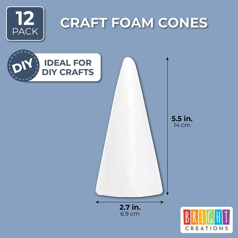 "Foam Cones 2.7"" x 5.5"" Styrofoam Cones for DIY Projects and Crafts, 12 Pack"
