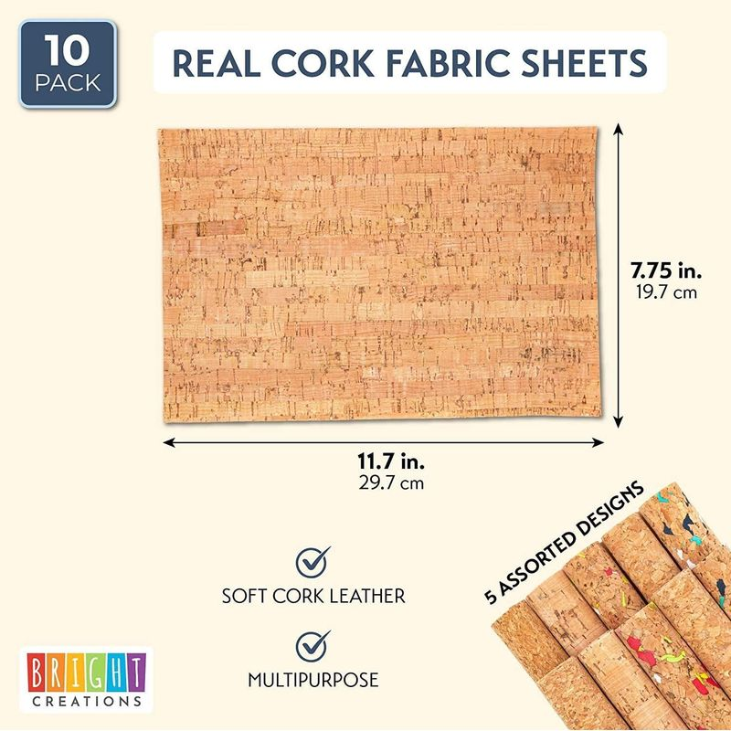 "10PCS Cork Printed Faux Leather Fabric Sheets 7.6"" x 11.7"" for DIY Crafts"