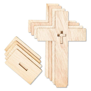 12 Pack Unfinished Wood Cross with Standing Base for DIY Projects, 3 Sizes