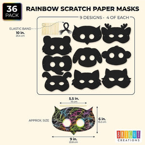 36 Pack Animal Rainbow Scratch Paper Masks Party Favors for Kids Theme Party