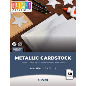 "50 Pack Metallic Silver Foil Paper Board Sheets for Arts and Crafts, 8.5"" x 11"""