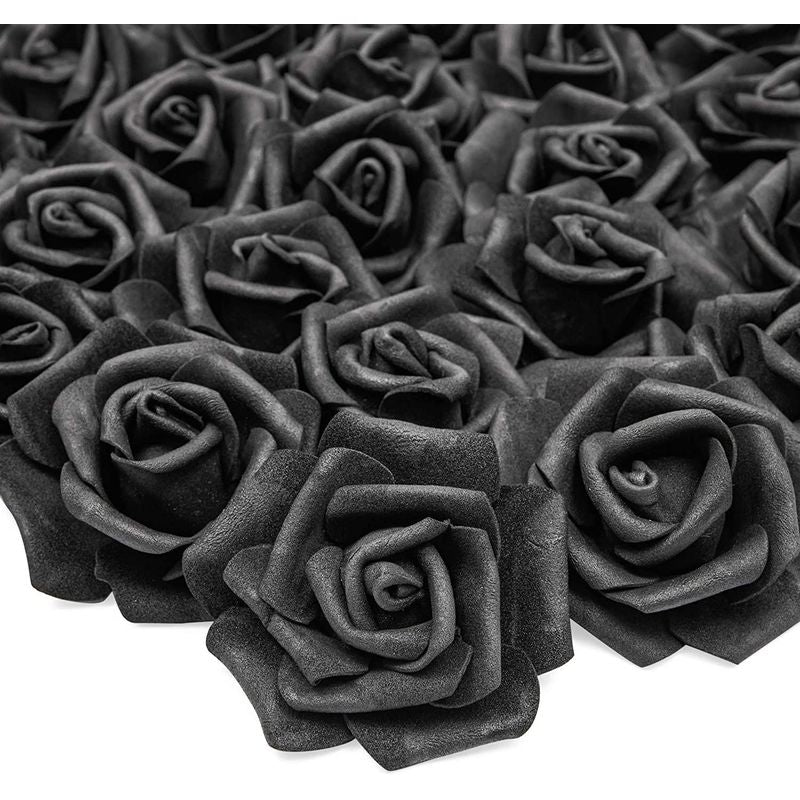 Bright Creations Artificial Rose Flowers Heads for Decorations (Black, 100 Pack)