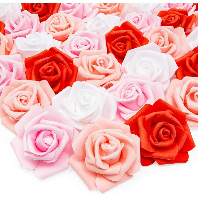 Artificial Rose Flower Heads (3 x 3 x 1.25 in, 4 Colors, 100 Pack)