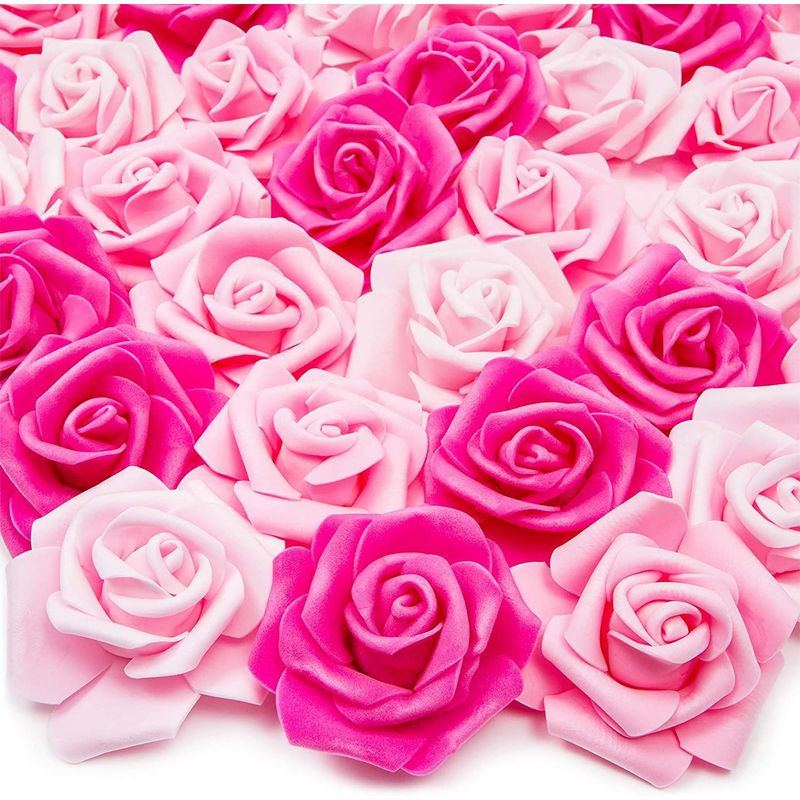 Pink Artificial Rose Flower Heads for Decorations (3 x 1.25 in, 3 Colors, 100 Pack)