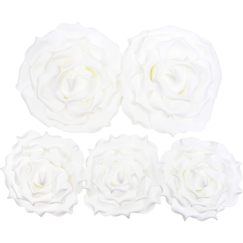 Artificial White Rose Flower Heads for Crafts (2 Sizes, 5 Pieces)