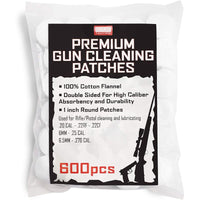"1"" Cotton Double Sided Gun Cleaning Patches for Rifle and Pistol, 600 Pieces"