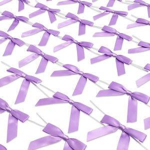 Light Purple Satin Bow Twist Ties for Treat Bags (100 Pack)