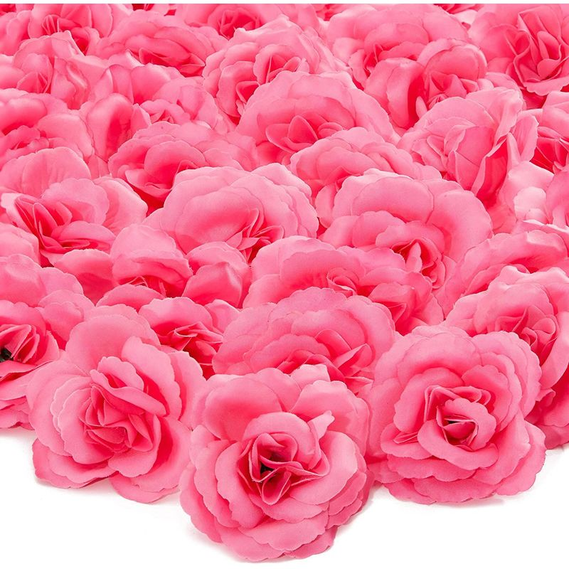 50pc Artificial Fake Dark Pink Rose Flower Head for Wedding Bouquet Home Decor