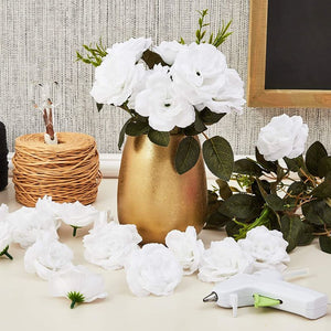 50pc Artificial Fake White Silk Rose Flower Head for Wedding Bouquet Home Decor