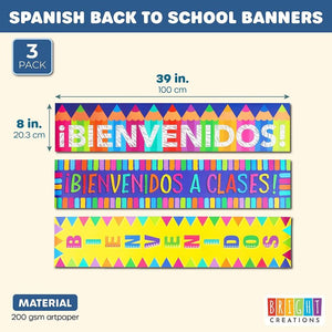 3-Pack Bienvenidos Welcome Banner for Spanish Classrooms, Pencil Design, 39x8""
