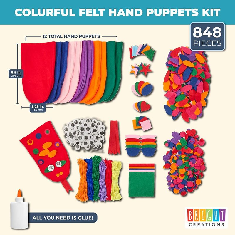 Felt Hand Puppet DIY Craft Set with Wiggle Googly Eyes for DIY Craft Projects