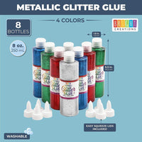 4 Colors Washable Glitter Glue Set 8oz Bottles for DIY Projects, 8 Count