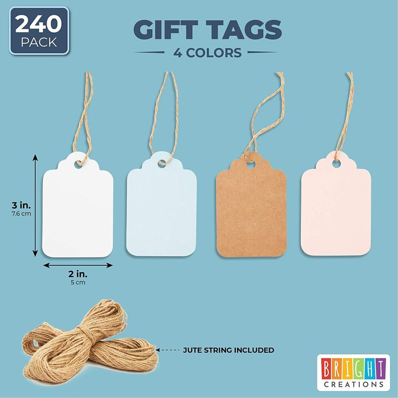 Paper Gift Tags with Jute String for Baby Showers and Birthday Parties (4 Colors, 240 Pack)