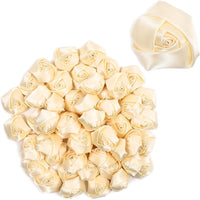 "50 Pack 2"" Mini Cream White Satin Ribbon Rose Flowers Heads for Bride Bouquet"