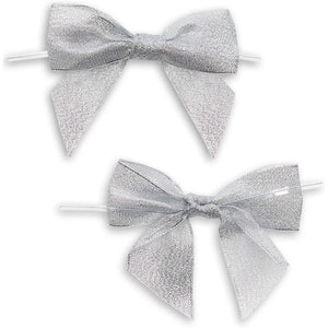 36 Pack Silver Organza Bows Twist Ties with Pull String for Wedding Gift Basket