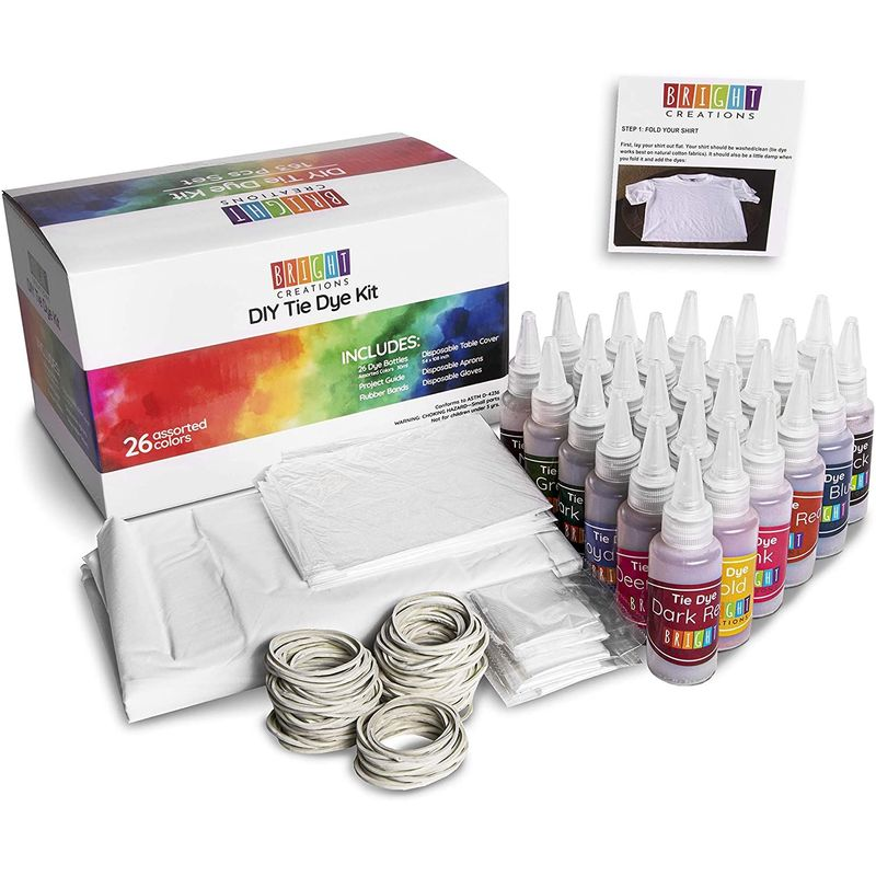 Tie Dye Kit Set of 26 Colors with Aprons, Gloves, Rubber Bands and Table Cover