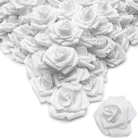 "200pcs 2"" Artificial Rose Flower Heads for Party & Wedding Decoration, White"