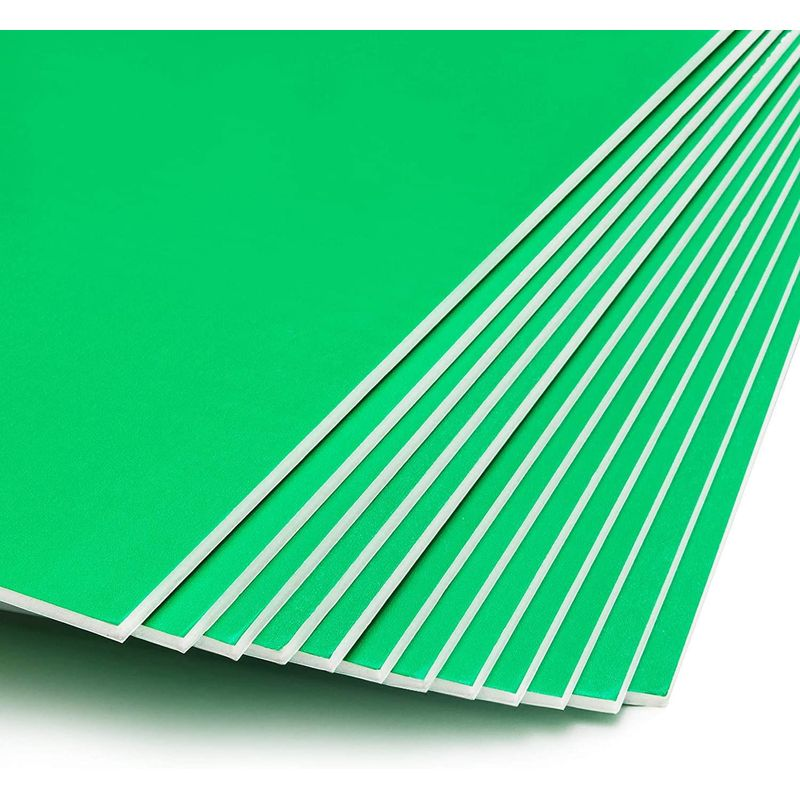 "12 Pack 20x30"" Foam Board, 3/16"" Thick Core Foam Sheets for DIY Crafts, Green"
