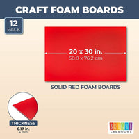 "12 Pack 20x30"" Foam Board, 3/16"" Thick Core Foam Sheets for DIY Crafts, Red"