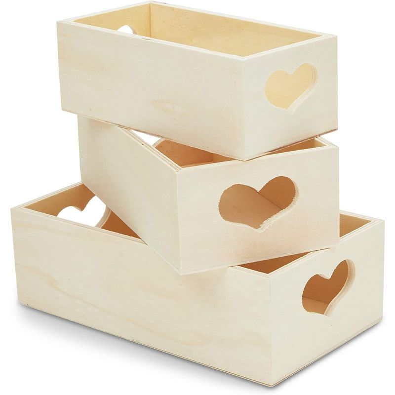 3 Pack Unfinished Wooden Tray with Heart Shaped Handles for DIY Projects 3 Sizes