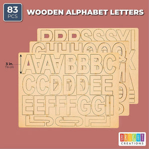 "83pcs 3"" Unfinished Wooden Letters for Home Decor, Art and DIY Craft Projects"