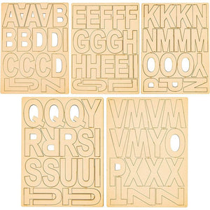 "83pcs 4"" Unfinished Wooden Letters for Home Decor, Art and DIY Craft Projects"