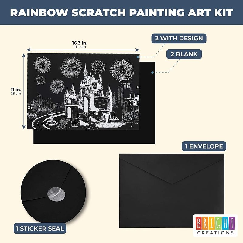 Rainbow Scratch Art Paper Painting Art Sketch Kit Set with 4 Scratching Tools