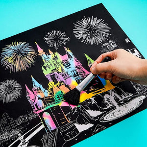 Rainbow Scratch Paper Kit, Whimsical Castle CityScape, Sketch DIY Art Craft, 2 Pcs Castle Designs, 2 Blank Sheets, 4 Tools (16.3 x 11 In)
