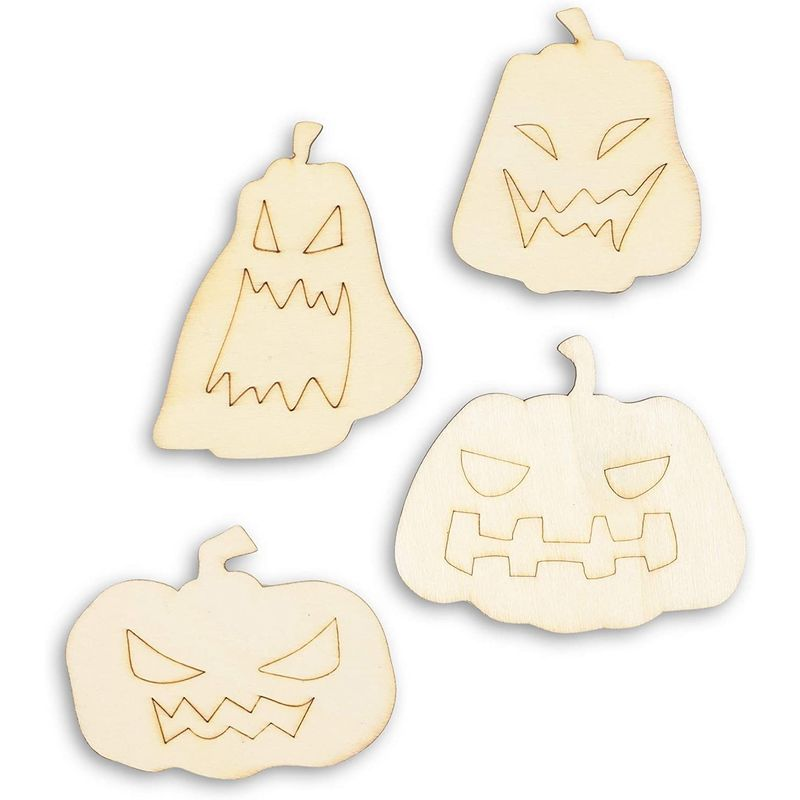 Halloween Pumpkin Cutouts, Unfinished Wood for DIY Crafts (4 Sizes, 24 Pieces)