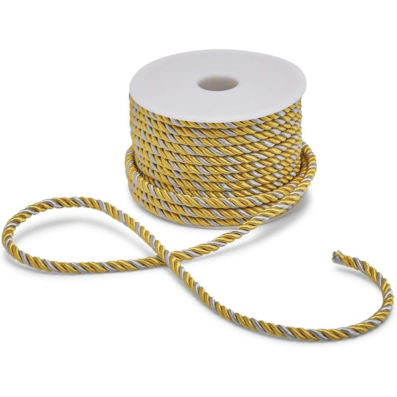 5mm Gold and Silver Macrame Cord for Craft Supplies (36 Yards, 2 Pack)
