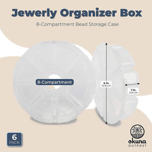 Jewelry Organizer Box, 8-Compartment Bead Storage Case (6 Pack)