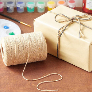 Cotton Twine String for Crafts, Beige Jute Twine (2mm, 218 Yards, 656 Ft)
