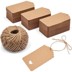 Kraft Paper Gift Tags with Heart Cutout, String Included (2.17 x 4.1 in, 300 Pack)
