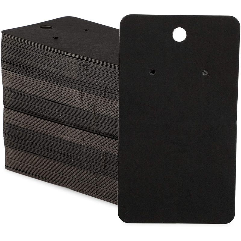 Black Kraft Paper Earring Display Cards for Jewelry (2 x 3.5 in, 600 Pack)