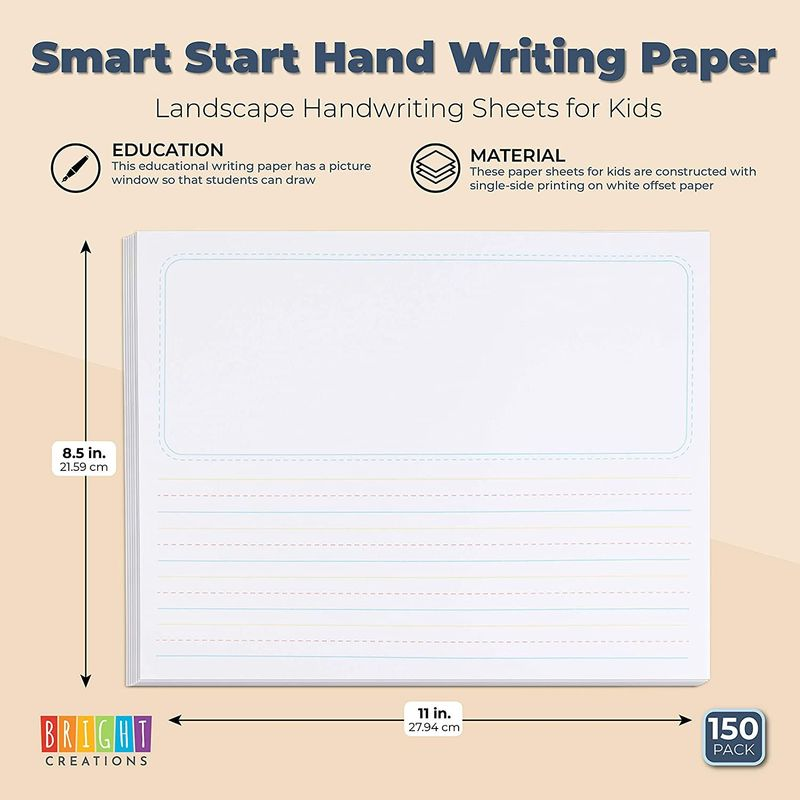 Handwriting Story Paper Sheets for Kids (11 x 8.5 In, 150 Pack)