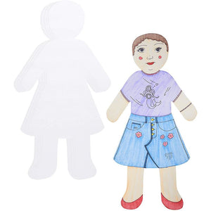Bright Creations Oversized Girl Cutouts for Crafts, Blank Paper (17.2 x 34.4 in, 24 Pack)