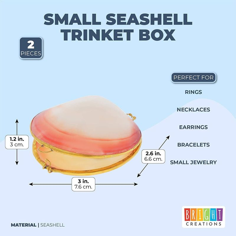 Small Sea Shell Trinket Boxes, Beach Jewelry Organizer (2.6 In, 2 Pack)