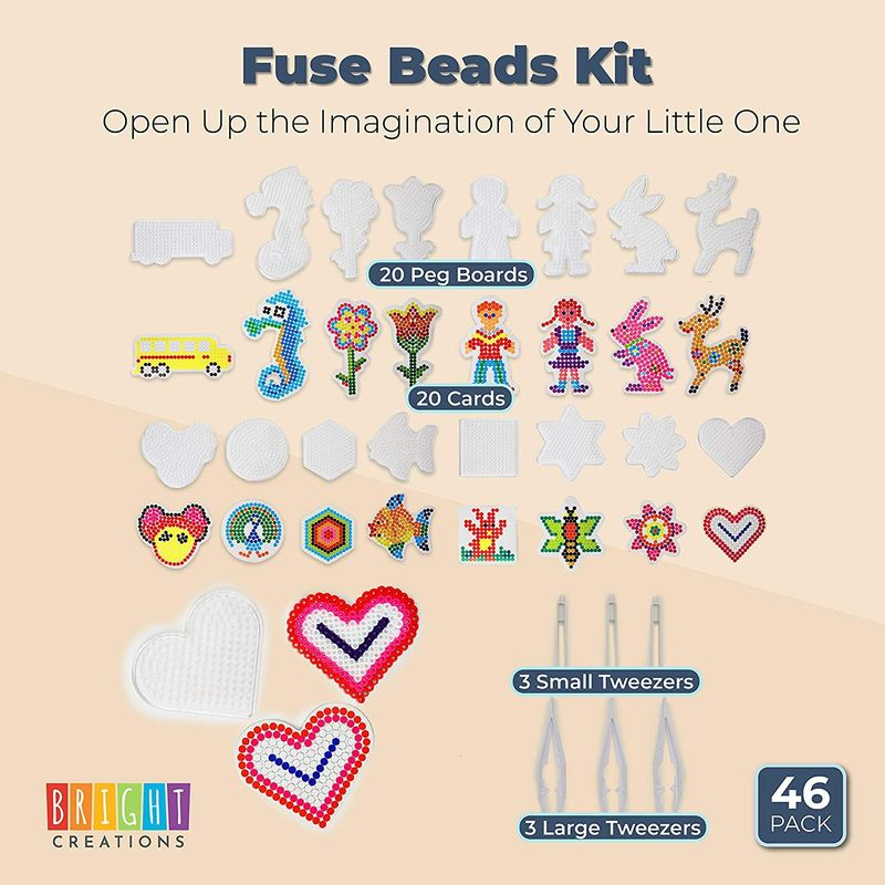 Fuse Beads Kit, Includes 5 mm Beads, Pegboards, and Tweezers