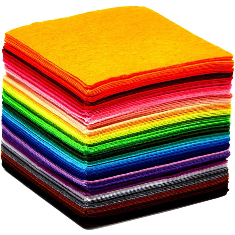 Felt Fabric Sheets for Art and DIY Crafts Supplies, 50 Colors (4 x 4 in, 1 mm, 100 Pieces)