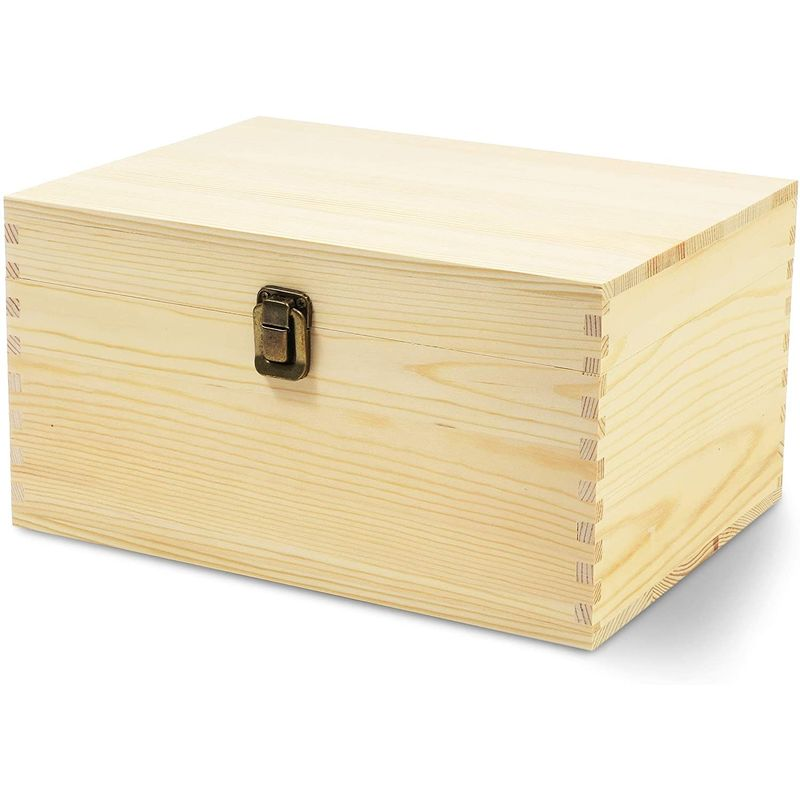 Unfinished Wood Box with Hinged Lid, Wooden Jewelry Box (10.