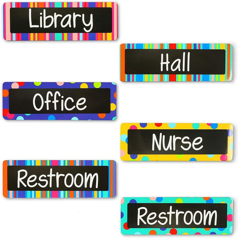 Magnets for Locker or Fridge, Classroom Whiteboard Accessories (6.75 x 2.25 in, 6 Pack)