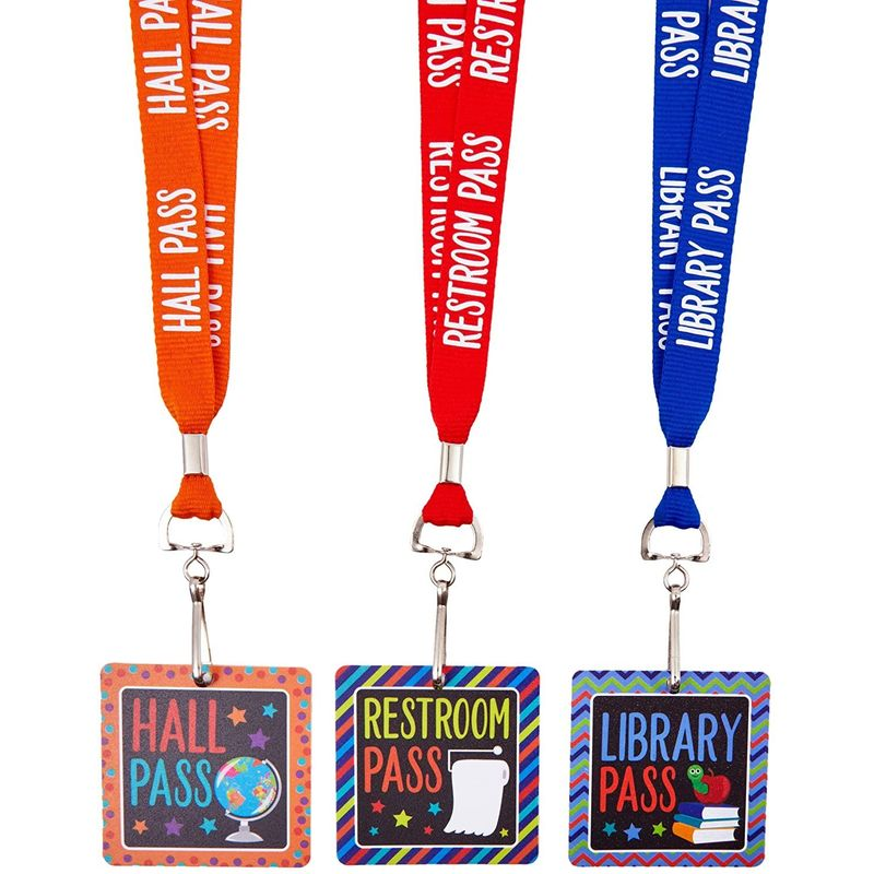 Classroom Hall Passes for Teachers 6 Designs (3 x 3 Inches, 6 Pack)