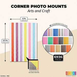 Bright Creations Self Adhesive Photo Corners for Scrapbooking, 68 Sheets, 17 Colors (6936 Pieces)
