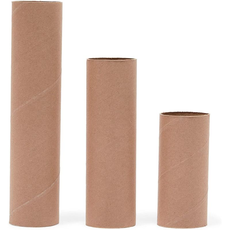 Brown Cardboard Tubes for Crafts, DIY Craft Paper Roll (3 Sizes, 36 Pack)