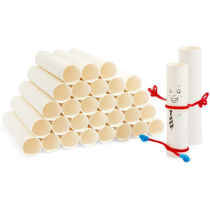 White Cardboard Tubes for Crafts, DIY Craft Paper Roll (1.6 x 8 in, 30 Pack)
