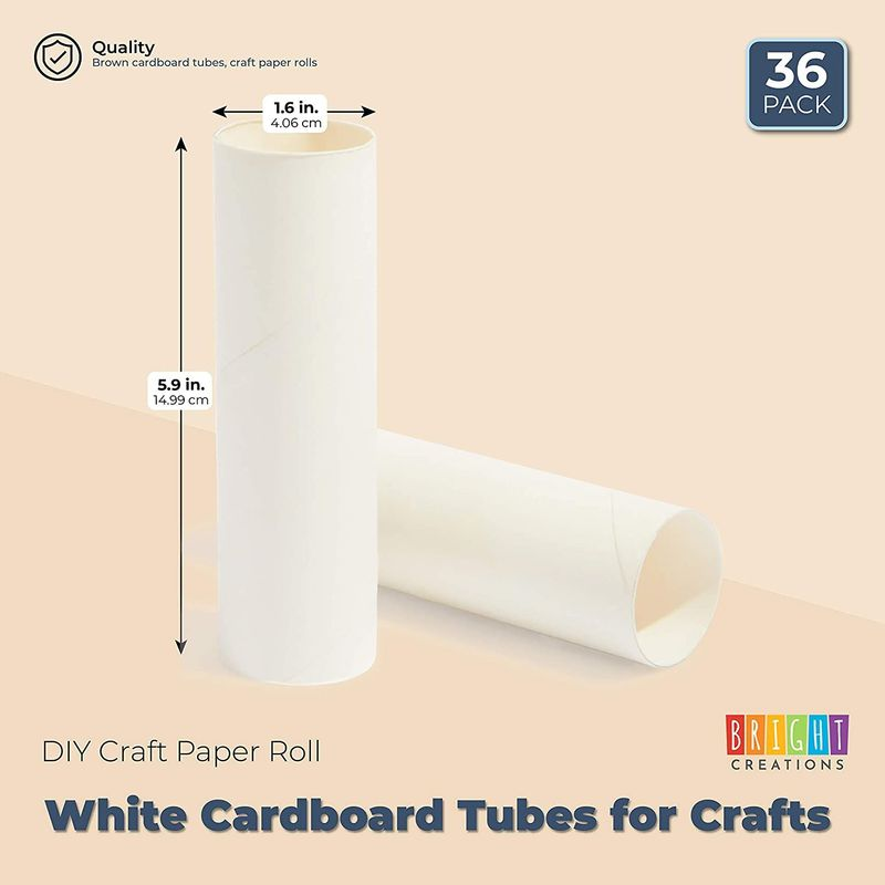 White Cardboard Tubes for Crafts, DIY Craft Paper Roll (1.6 x 5.9 in, 36 Pack)